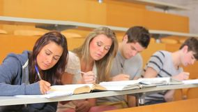 Students writing together the lessons Royalty Free Stock Images