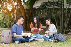 Students young asian together reading book study stock image