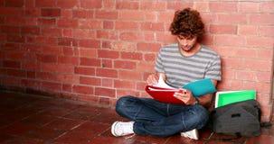 Studentsammanträde mot den läs- läroboken för vägg stock video