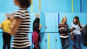Studentvänner på skåprum royaltyfri foto
