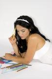studera för flicka som är teen Royaltyfria Bilder