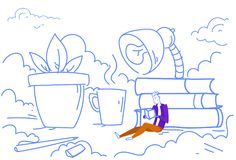Studera för utbildning för student för begrepp för skrivbords- läsebok för kontor för arbetsplats för sammanträde för affärsman l royaltyfri illustrationer