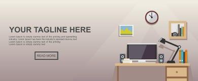 Studera ställe- eller arbetsplatsillustrationen Arkivfoto