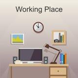 Studera ställe- eller arbetsplatsillustrationen Arkivfoton