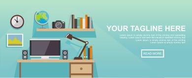 Studera ställe- eller arbetsplatsillustrationen Banerillustration Plana designillustrationbegrepp för arbetsplats på kontoret, Arkivfoto