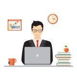 Studiando con il computer portatile Immagini Stock