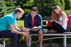 Studiando su un campo degli studenti Immagini Stock