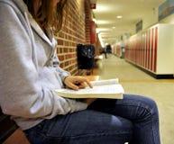 Studiando in un corridoio dell'istituto universitario Immagini Stock