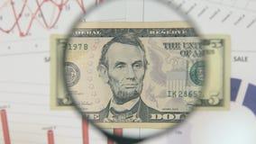 Studie av en sedel fem dollar som ökar med hjälpen av ett förstoringsglas stock video