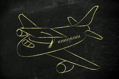 Studie im Ausland: Flugzeug mit Staffelungskappe Lizenzfreies Stockfoto
