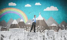 Studie stark, zum erfolgreicher Geschäftsmann zu werden Stockbilder