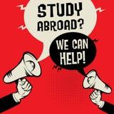 Studie utomlands? Vi kan hjälpa! stock illustrationer