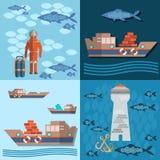 Studie van overzees en oceaan, vrachtvervoer, schepen en visserij Royalty-vrije Stock Afbeeldingen