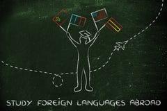 Studie vreemde talen in het buitenland Royalty-vrije Stock Foto's