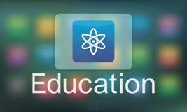 Studien-Bildungs-E-Learning-Anwendungs-Ikonen-Grafik-Konzept Lizenzfreie Stockfotografie