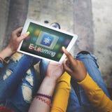 Studien-Bildungs-E-Learning-Anwendungs-Ikonen-Grafik-Konzept Lizenzfreies Stockbild