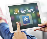 Studien-Bildungs-E-Learning-Anwendungs-Ikonen-Grafik-Konzept Stockfotografie