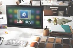 Studien-Bildungs-E-Learning-Anwendungs-Ikonen-Grafik-Konzept Lizenzfreies Stockfoto