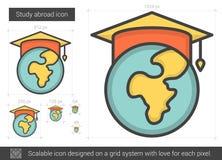 Studien utomlands fodrar symbolen stock illustrationer
