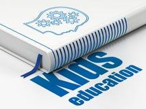 Studieren des Konzeptes: buchen Sie Kopf mit Gängen, Kinderbildung auf weißem Hintergrund lizenzfreie abbildung