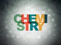 Studieren des Konzeptes: Chemie auf Digital-Daten-Papierhintergrund stockbild