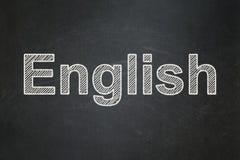 Studieren des Konzeptes: Englisch auf Tafelhintergrund lizenzfreie stockbilder