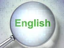 Studieren des Konzeptes: Englisch mit optischem Glas lizenzfreie stockbilder