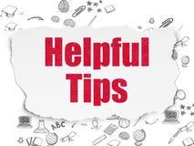 Studieren des Konzeptes: Hilfreiche Tipps auf heftigem Papier Stockfotografie