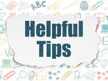 Studieren des Konzeptes: Hilfreiche Tipps auf heftigem Papier Stockbild