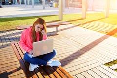 Studieren für Prüfung auf Parkbank mit offenem netbook und großer Kopienraum für Text lizenzfreie stockbilder