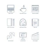 Studieren, lernend, Abstand und on-line-Bildungsikonen Lizenzfreies Stockbild