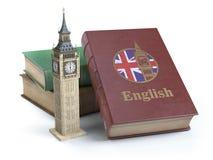 Studierend und lernen Sie englisches Konzept Buch mit Flagge des großen Briten stock abbildung