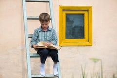 Studierendes Buch des Jungen Stockfotos