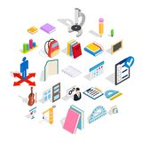 Studies icons set, isometric style. Studies icons set. Isometric set of 25 studies vector icons for web isolated on white background Royalty Free Stock Images