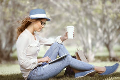 Studies in the park. Royalty Free Stock Image