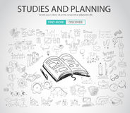 Studies and Planning concept with Doodle design style Stock Photos