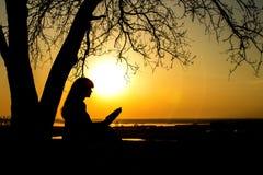 studing圣经本质上的妇女的剪影在日落、概念宗教和灵性 库存图片