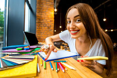 Studing in the cafe Royalty Free Stock Images