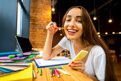 Studing in the cafe Royalty Free Stock Photo