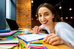 Studing in the cafe Stock Photos