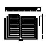 Studing - open boek, pen, heerserspictogram, vectorillustratie, zwart teken op geïsoleerde achtergrond stock illustratie