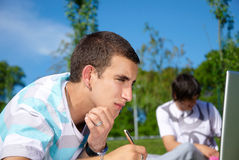 Studing in the park Stock Image