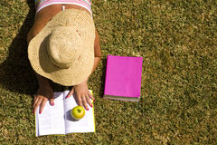 Studing at the school grass Stock Photos