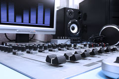 In studio. A control panel in a radio studio royalty free stock photo