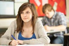 Studio adolescente femminile dell'allievo Fotografia Stock Libera da Diritti