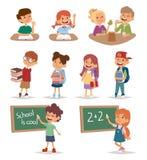 Studio andante dei bambini della scuola del gruppo insieme, vettore felice del carattere di educazione primaria di infanzia Immagini Stock