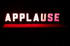 Studio Applause Sign. 1950s Style Television Studio Applause Sign illuminated stock image