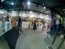 Studio area inside the booth of Nikon company at PhotoForum Stock Photos