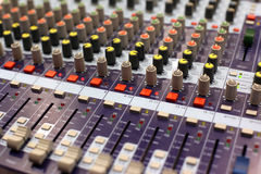 Studio audio mixer. Audio mixing console in a recording studio. Faders and knobs of a sound mixer royalty free stock photo