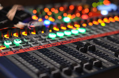 Studio audio mixer. Faders nobody Royalty Free Stock Images